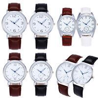 Women Men Fashion Casual Leather Band Analog Quartz Vogue Wrist Watches Gifts AU