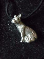 """French Bulldog Dog tg8 English Pewter On 18"""" Black Cord Necklace"""
