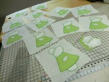 Set 12 Vintage Sunbonnet Sue Green Gingham Quilt Blocks Applique 1 Incomplete