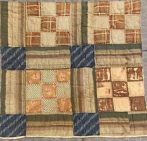 """Antique 1800's quilt square Browns Blue Floral Prints 20""""X21"""" Quilt Collectors"""