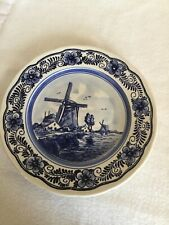 """Vintage Delfts Blue and White By Holland Windmill Plate 8.75"""""""
