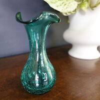 "MINT Vtg RAINBOW ART GLASS Crackle Vase Emerald Green Hand Blown Ruffle Rim 7"""