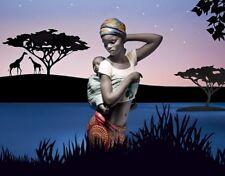 Porcellana artistica in Gres. Africana con bimbo. Creazione incantevole.