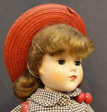 VERY  MINT  'NANETTE'  HARD PLASTIC DOLL with Red Hat & Purse