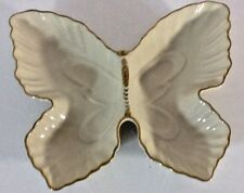 Lenox Butterfly Divided Dish/ Bowl Cream w/ hand painted 24K gold