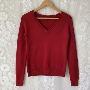 ZARA Red V Neck Long Sleeve Sweater Knit Cotton Blend Women's M