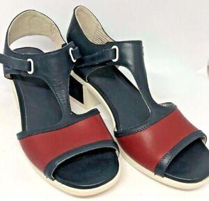 Camper Sz 37 Navy Red/ White Leather Vintage look  Block Heel Sandals VGC