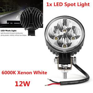 1xWaterproof 12W 6000K Xenon White Car Off Road LED Work Light Spot Fog DRL Lamp