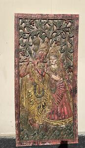 Vintage Carving Krishna Radha BarnDoor Panel Old World Elements Wall Sculpture