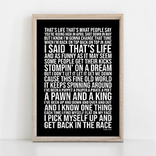 More details for frank sinatra that's life song lyrics poster print wall art