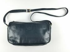 Amanda Smith Genuine Leather Navy Blue Purse Hand Bag Shoulder Bag