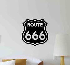 Route 666 Wall Decal Road Sign Pointer Vinyl Sticker Poster Race Decor Mural 729