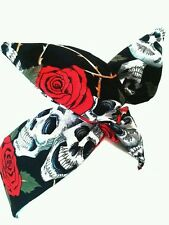 Rockabilly PinUp Haarband Kopftuch Headband 50's Large Skull Schwarz Fasching