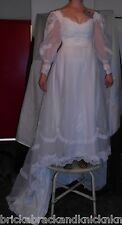 "WEDDING GOWN, DAVID'S BRIDAL, GRADUATED SKIRT, LONG-SLEEVE W/LACE&""PEARL"" NICE!"