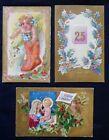 3 Vintage  Gold Border/ Background   CHRISTMAS Post Cards    1084