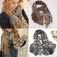 Women Ladies Leopard Print Soft Chiffon Shawl Neck Scarf Long Wrap Stole Scarves