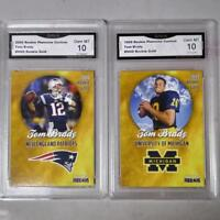 (2) -1999-2000 Tom Brady Rookie Phenoms Gold Graded 10 COLL-NFL Patriots RCS