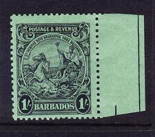 Barbados 1932 SG257a 1/- Negro en Esmeralda P131/2x121/2 M/M marginal copia gato £ 70