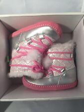 Stride Rite Crib & Crawl Step 1 Snowdrop Pink Silver Boot Shoes sz 2m back zip