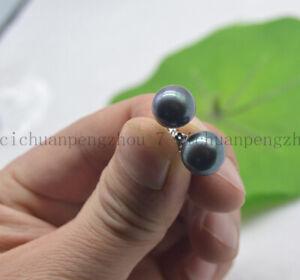 Fashion 11-12mm Real Natural Tahitian Round Black Pearl Stud Earrings 14K