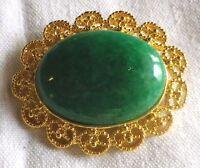 broche ovale bijou vintage couleur or cabochon belle pierre verte 2872