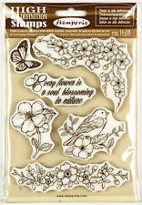 6pcs Stamperia High Definition Vintage Rubber Stamps Flowers Bird and Butterfly
