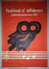 GREECE ATHENS FESTIVAL1965 KATZOURAKIS ORIGINAL TRAVEL POSTER EOT