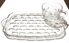 Federal Glass Yorktown Colonial Clear Glass Snack Plates and Cups Free Shipping