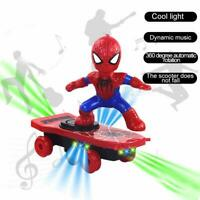 Kid Spiderman Toys Electric Spider-Man 360° Rotating Scooter With Music Light BJ