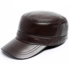 Men's Fashion Genuine Leather Brown Military Cap Casual Flat Hat New