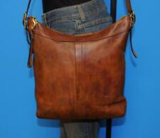 Vintage COACH Brown Leather Crossbody Rugged Hobo Duffle Tote Purse Bag 9325