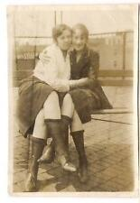 Affectionately Hugging On Rooftop Girlfriends Showing Some Leg Low Socks Photo