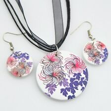 Fashion painting Flowers wood pendants Necklace Earrings Jewerly set XL26