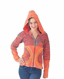 Tattopani Ladies Multicolored Stone Washed Cotton Cardigan With Attached Hood