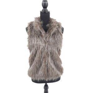 CiSono Faux Fur Hook & Eye High Neck Vest, Gray/Brown, Size M