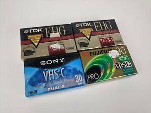 Lot of 4 NEW VHS-C 30min Tapes - Sony TDK Fujifilm TC-30