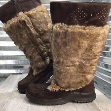 Lane Bryant Women's Brown Faux Leather Fur Stud Zip Up Comfort Moc Boot Size 9