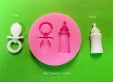 Silikon Form Mould Fondant Torten Deko Cupcake Baby Taufe Schnuller + Flasche