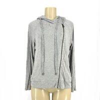 Splendid Women Rib Zip Up Hooded Sweatshirt T-Shirt Sz M R1