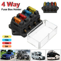 12V/24V CAR TRUCK 4 WAY CIRCUIT ATO ATC STANDARD BLADE FUSE BOX HOLDER + 4 FUSES