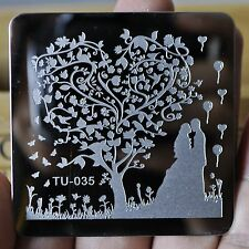 Metal Manicure Template Nail Stamping Plates Sweet Heart Tree Designs TU35