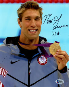 MATT GREVERS SIGNED AUTOGRAPHED 8x10 PHOTO OLYMPIC GOLD SWIMMING BECKETT BAS