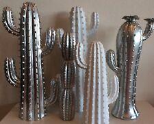 Deko Kaktus silber 21cm Keramik Dekofigur Kakteen Tischdeko Pflanze Dekoration