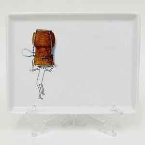 "Crate & Barrel CB2 OLIVER WINE CORK 2009 Rectangle Appetizer Plate 6.5"""
