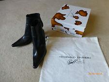 DONALD J PLINER Michi Black Baby Calf Leather Ankle Slip On Boots sz.9.5 M  EUC