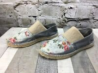 NATURAL WORLD Sz EU40 (US 9) Blue Grey Floral Canvas Espadrille Shoes