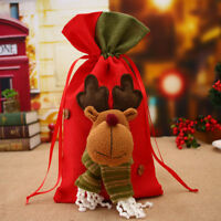 Christmas Ornament Large Santa Claus Gift Bag Drawstring Candy Storage Sack Xmas