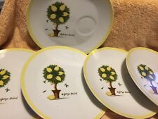 "5 Vintage Georges Briard 9.5"" Hostess Snack Party Plates Lemon Tree Design"