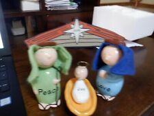Enesco Ceramic Bobble Head Christmas Nativity Set New In Box 2009