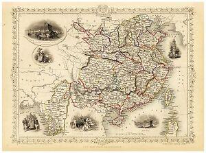 Old Vintage Map of China Burma richly illustrated Tallis 1851